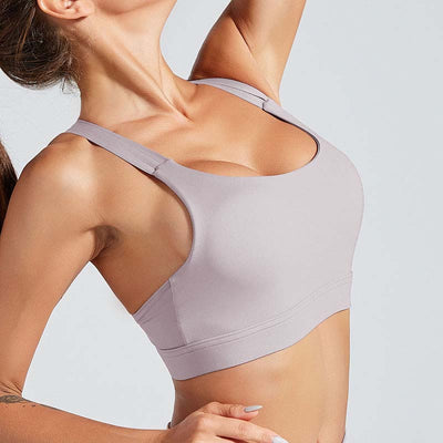 Cross Strap Back Sports Bra Top -Purple