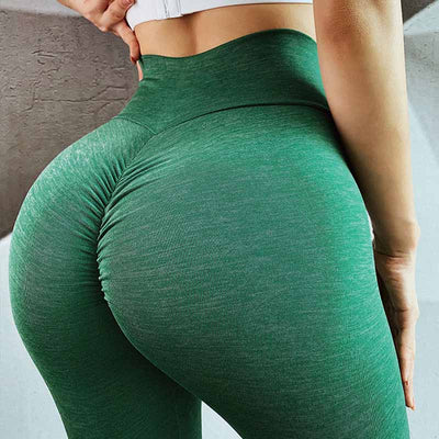 Push Up Squat Proof Workout Leggings-Green