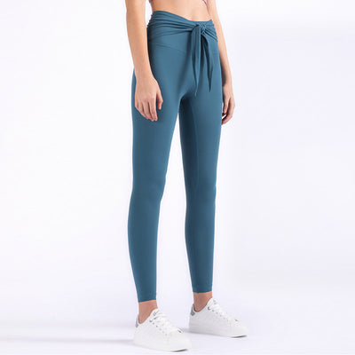 High Waist Pants Bow Tie Leggings -Blue