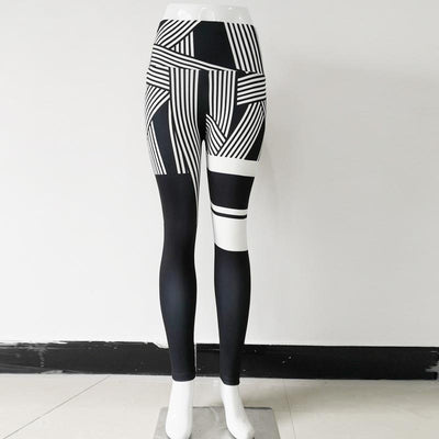 3D Printing Striped Fitness Leggings -Black