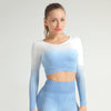 Women Seamless Long Sleeve Workout Top -Blue