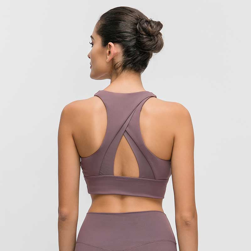 Women High Impact Fitness Sports Bra -Gray Purple