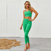 Women Seamless Bra Leggings 2 Pieces Set -Green