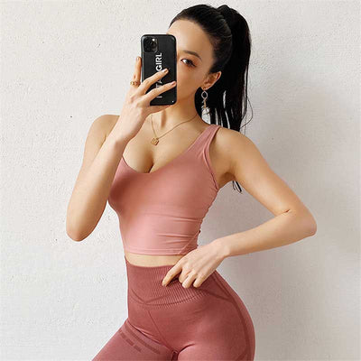 Women Sexy Backless Bra Crop Tops-Pink