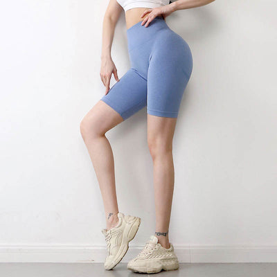 Women Seamless Gym Shorts -Blue