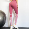 Women Fashion Letter Stripe Gym Leggings-Pink