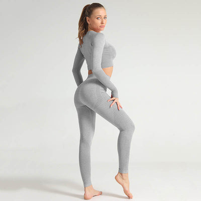 Seamless Long Sleeve Fitness Sets Tracksuit -Light Gray