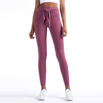 High Waist Pants Bow Tie Leggings -Red
