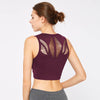 Women Tank Top Hollow Sports Bra -Wine Red
