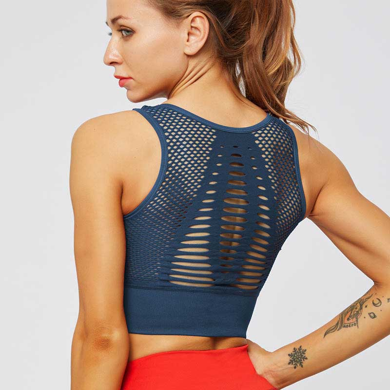 Fitness Seamless Bra Mesh Sports Tank -Blue