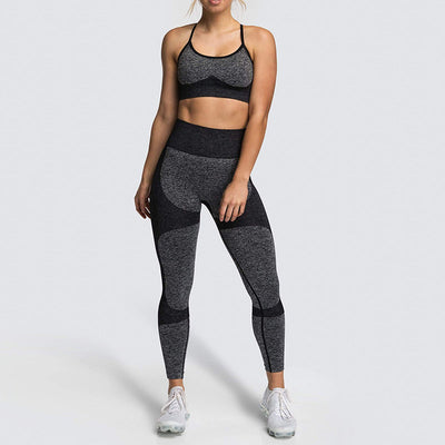Women Fitness Seamless 2 Pieces Set -Black