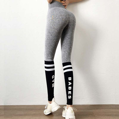 Women Fashion Letter Stripe Gym Leggings-Gray