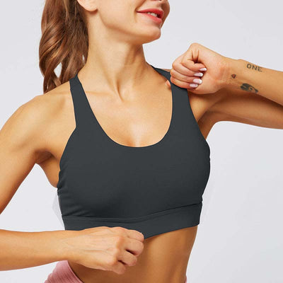 Women Cross Sports Bra Fitness Tops -Black