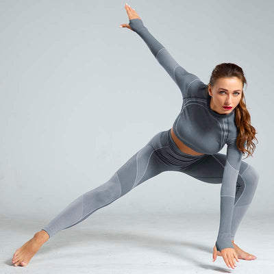 High Waist Sports Yoga Two Piece Sets - Gray