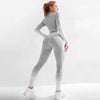 Seamlesss Gym Clothing Women Stripe Sets -White