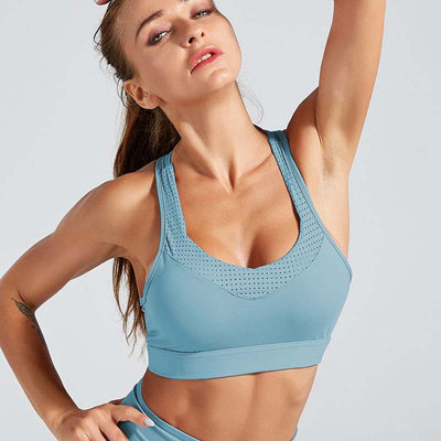 Back Strap Sports Bra Push Up Tank Top-Blue