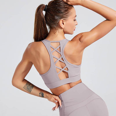 Back Strap Sports Bra Push Up Tank Top-Purple