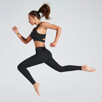Women Workout Sports Leggings With Pocket - Black