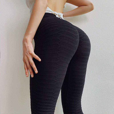 Solid High Waist Sports Pants - Black