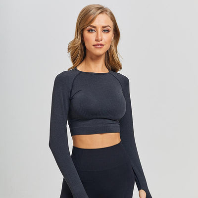 New Seamless Workout Long Sleeve Top - Black