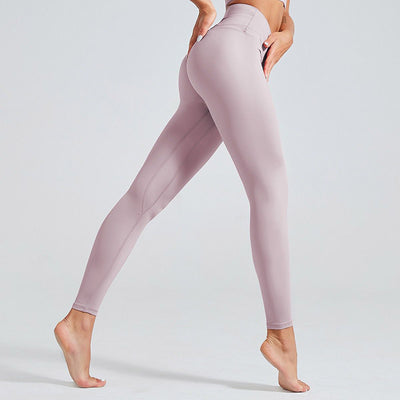 High Waist Fitness Leggings Solid Color -Purple