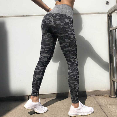 Women Workout  Camo Seamless Leggings - Black