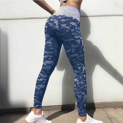 Women Workout  Camo Seamless Leggings - Blue