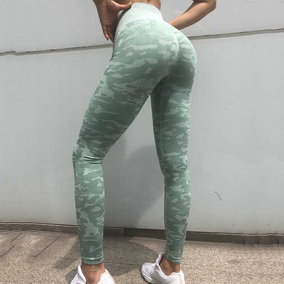 Women Workout  Camo Seamless Leggings - Green