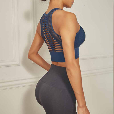Workout Sports Bra - Quick Dry Breathable - Blue
