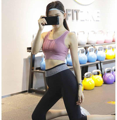 Workout Sports Bra - Quick Dry Breathable - Rose Red
