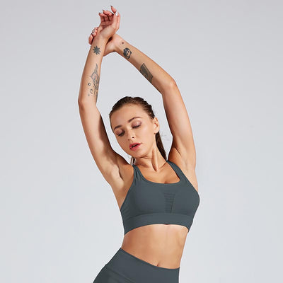 Sexy Shockproof Sports Bra Professional - Gray