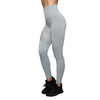High Waist Solid Color Mesh Leggings - Gray