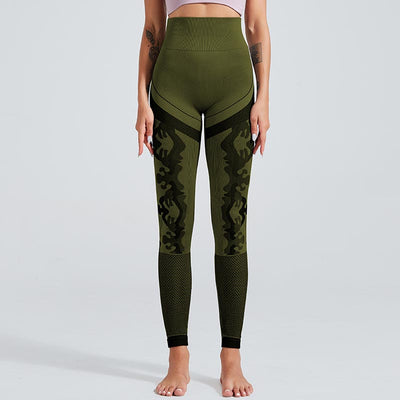 New Camouflage Knitted Seamless Leggings - Green