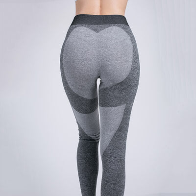 Women Seamless Heart Shaped Gym Leggings - Gray Heart
