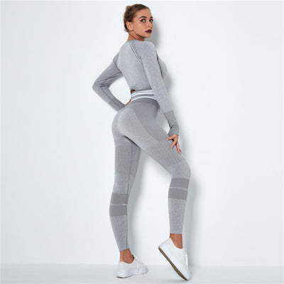 Ombre Seamless Sports Set Fitness Sports Suits Gym Clothes Fitness Long Sleeve Shirts High Waist Running Leggings Workout Sets -Light Gray
