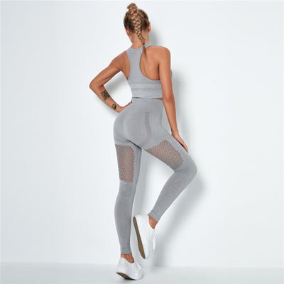 Women's Seamless Clothing Gym Set- Light Gray