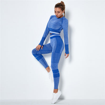Ombre Seamless Sports Set Fitness Sports Suits Gym Clothes Fitness Long Sleeve Shirts High Waist Running Leggings Workout Sets -Blue