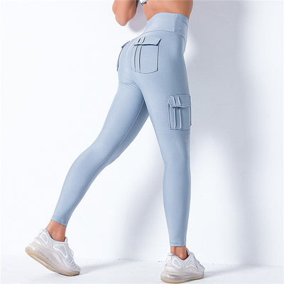 High Waist Leggings With Pocket -Blue