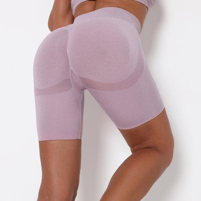 Women Yoga Shorts Sports Running Sportswear Fitness Workout Athletic Exercise Gym Lifting High Waist Shorts Activewear -Light Purple