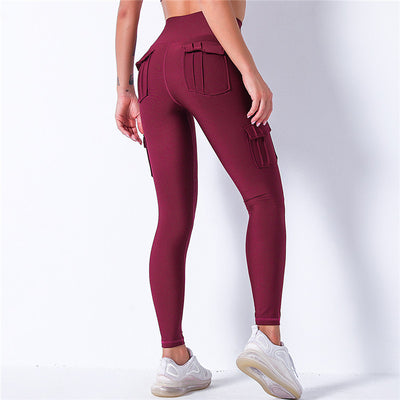 High Waist Leggings With Pocket -Wine Red