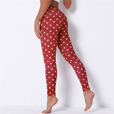 Red Peach Christmas Leggings Women Elastic Band Waist Peach Skinny Printing Leggings For Girls Christmas