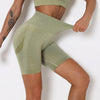 Women Yoga Shorts Sports Running Sportswear Fitness Workout Athletic Exercise Gym Lifting High Waist Shorts Activewear -Army Green