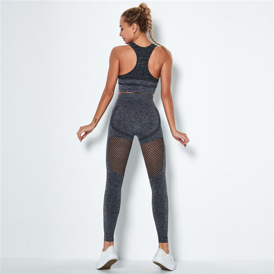 Women's Seamless Clothing Gym Set- Gray