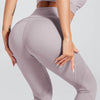 High Waist Breathable Leggings With Pocket -Purple