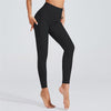 High Waist Breathable Leggings With Pocket -Black