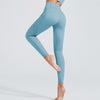 High Waist Breathable Leggings With Pocket -Blue