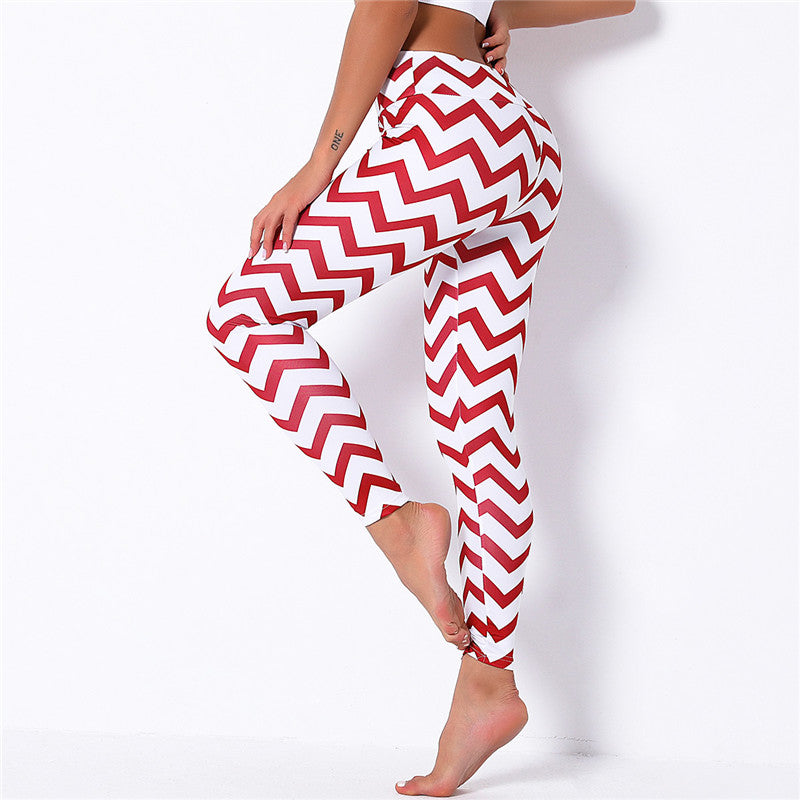 Christmas White Red Striped Leggings