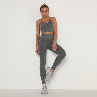 Women's Activewear & Workout Clothes Gym Wear Sports Sets -Gray