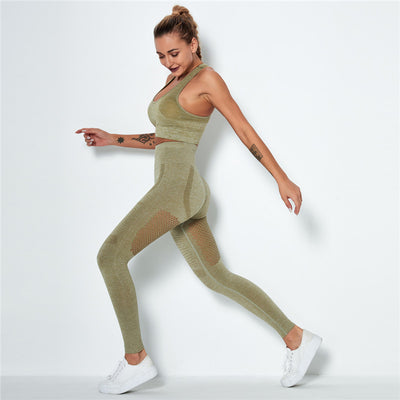 Women's Seamless Clothing Gym Set- Army Green