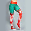 Women Print Christmas Leggings - Green